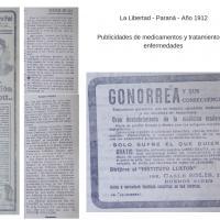 """Publicación - Publicidades del periódico """"La Libertad"""" de Paraná"""